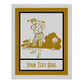 Retro vintage play golf art deco template poster