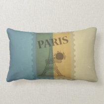 Retro Vintage Postage Paris Pattern Lumbar Pillow