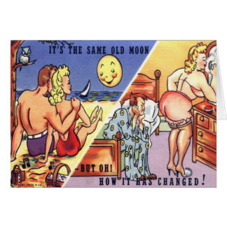 """Retro Vintage Postcard """"it's the same old moon"""" Greeting Card"""