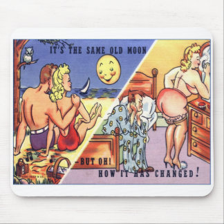 """Retro Vintage Postcard """"it's the same old moon"""" Mouse Pads"""