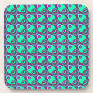 Retro vintage purple and green overlapping circles coaster