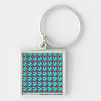 Retro vintage purple and green overlapping circles Silver-Colored square keychain