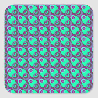 Retro vintage purple and green overlapping circles square sticker