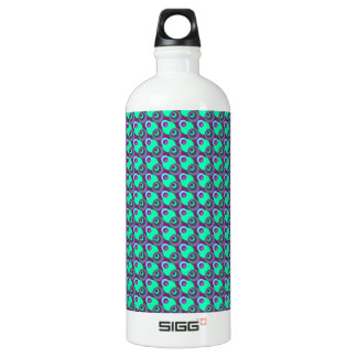 Retro vintage purple and green overlapping circles water bottle