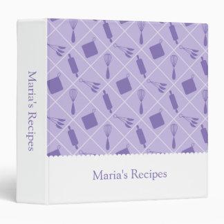 Retro Vintage Purple Utensils Recipe Binder
