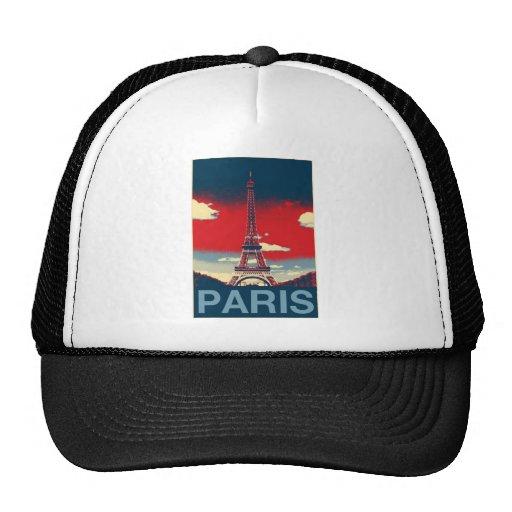 retro vintage red blue Paris Effiel Tower fashion Trucker Hat