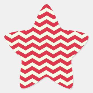Retro Vintage Red Cream Chevron. Zigzag Pattern Star Sticker