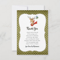 Retro Vintage Reindeer Christmas Baby Shower Thank You Card
