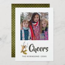 Retro Vintage Reindeer Christmas Family Photo Card