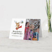 Retro Vintage Reindeer Christmas Family Photo Holiday Card