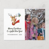 Retro Vintage Reindeer Christmas Family Photo Holiday Postcard
