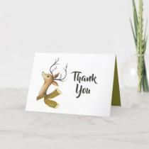 Retro Vintage Reindeer Christmas Wedding Thank You Card
