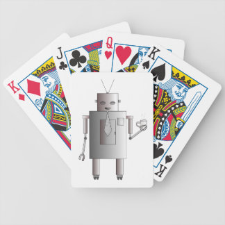 Retro Vintage Robot Drinking Coffee Illustration Bicycle Playing Cards