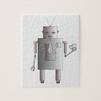 Retro Vintage Robot Drinking Coffee Illustration Jigsaw Puzzle