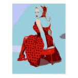 Retro Vintage Rocker Lady in Polka Dot Dress Post Cards