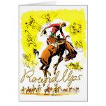 Retro Vintage Rodeo Cowboy Roundup Card