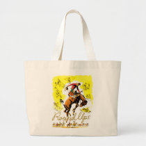 Retro Vintage Rodeo Cowboy Roundup Large Tote Bag
