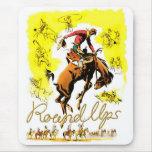 Retro Vintage Rodeo Cowboy Roundup Mouse Pad