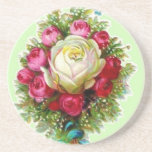 Retro Vintage Rose Bouquet Coaster