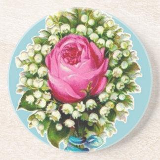 Retro Vintage Rose Floral Bouquet Coaster