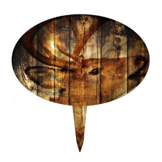 Retro vintage rustic country barn woodgrain deer oval cake topper