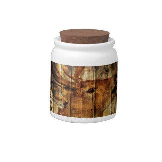 Retro vintage rustic country barn woodgrain deer candy jars