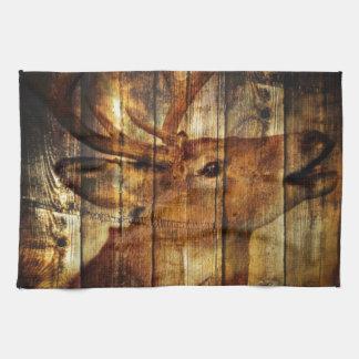 Retro vintage rustic country barn woodgrain deer hand towel