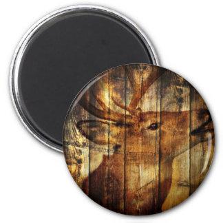 Retro vintage rustic country barn woodgrain deer refrigerator magnet