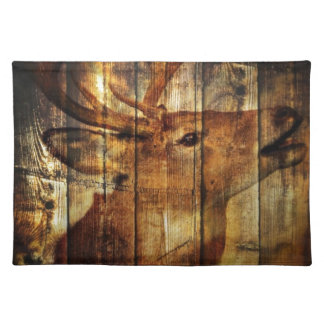 Retro vintage rustic country barn woodgrain deer placemats