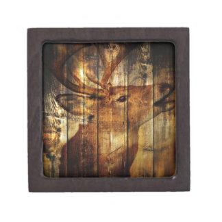 Retro vintage rustic country barn woodgrain deer premium trinket boxes
