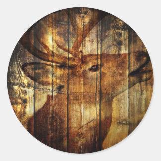 Retro vintage rustic country barn woodgrain deer sticker