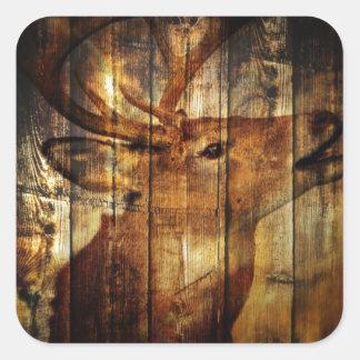 Retro vintage rustic country barn woodgrain deer square sticker