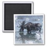 Retro vintage rustic wildlife snowy winter moose 2 inch square magnet