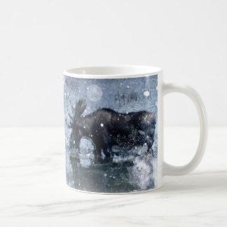 Retro vintage rustic wildlife snowy winter moose coffee mug