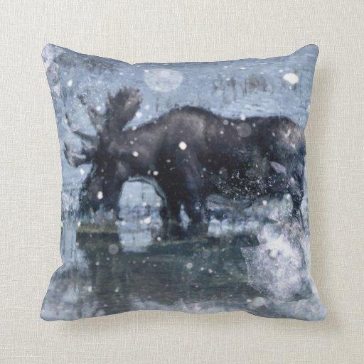 Retro vintage rustic wildlife snowy winter moose throw pillows Zazzle