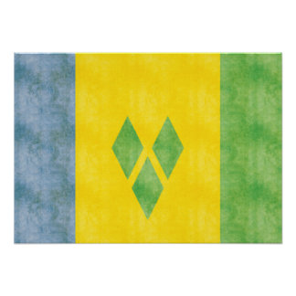 Retro Vintage Saint Vincent and the Grenadines Fla Poster