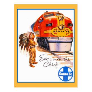 Retro vintage Santa Fe Chief Train ad Postcard