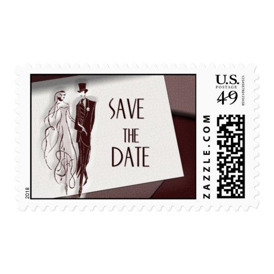 Retro vintage save the date postage
