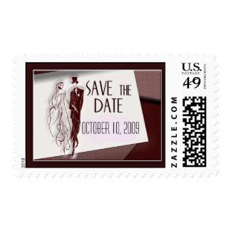 Retro / vintage save the date postage stamp