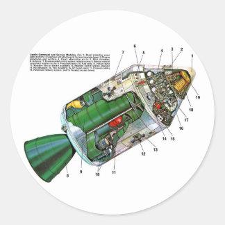 Retro Vintage Sci Fi Apollo Space Module Classic Round Sticker