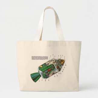 Retro Vintage Sci Fi Apollo Space Module Large Tote Bag