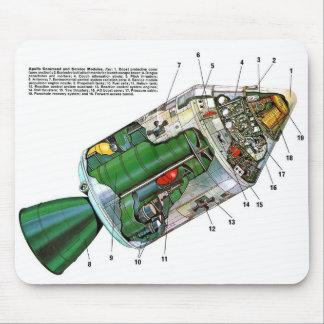 Retro Vintage Sci Fi Apollo Space Module Mouse Pad