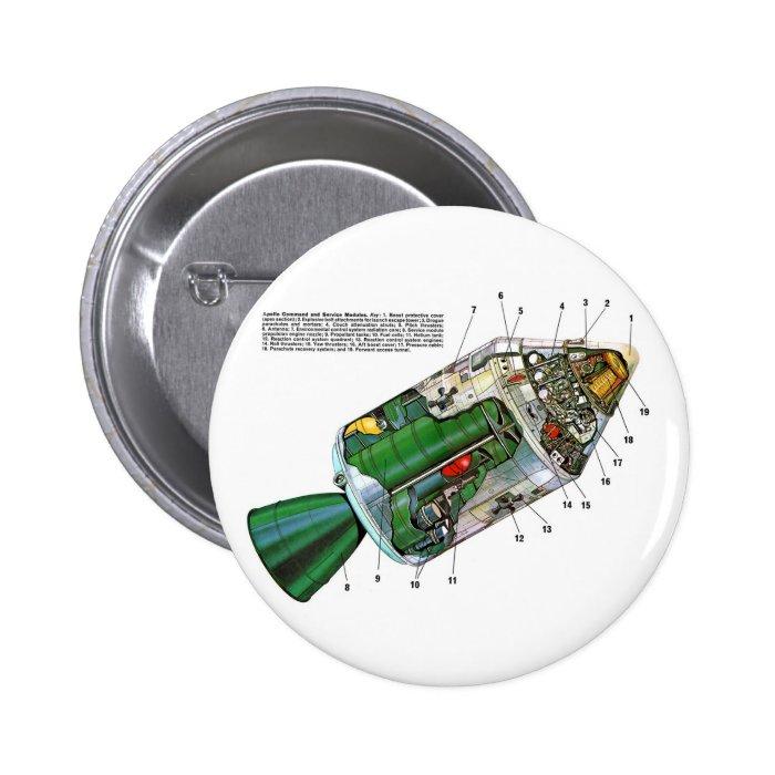 Retro Vintage Sci Fi Apollo Space Module Pinback Button