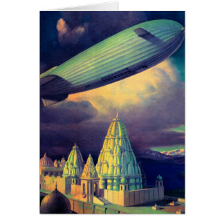 Retro Vintage Sci Fi Blimp Over Cambodia Greeting Card