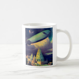 Retro Vintage Sci Fi Blimp Over Cambodia Coffee Mug