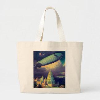 Retro Vintage Sci Fi Blimp Over Cambodia Large Tote Bag