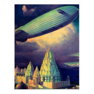 Retro Vintage Sci Fi Blimp Over Cambodia Post Cards