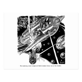 Retro Vintage Sci Fi Earth Transport attack Alien Postcards