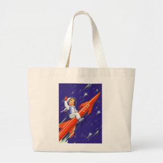 Retro Vintage Sci Fi 'Happy Little Cosmo' Large Tote Bag