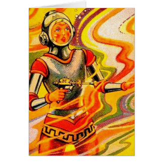 Retro Vintage Sci Fi Kitsch Space Girl Greeting Card